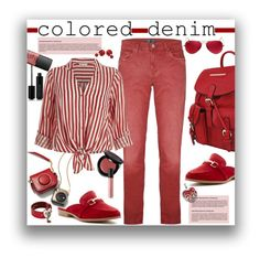 """""""Colored Jeans"""" by marionmeyer on Polyvore featuring Mode, J Brand, MKF Collection, River Island, Bobbi Brown Cosmetics, NARS Cosmetics, Bare Escentuals, Marc Jacobs, Alexander McQueen und Lord & Taylor"""