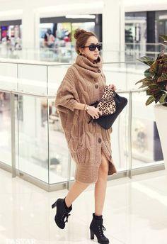 CRAZY COMFY! // Plus Size High Neck Long Sleeve Knitting Women's Coat (KHAKI), Jackets & Coats - fashiondresswholesale.com