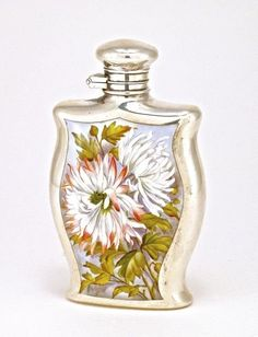 1880's English perfume bottle, enameled sterling silver : Lot 21