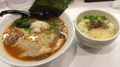 海老そばまるは 濃厚海老そば ワンタン チャーチーズご飯 ¥900、¥200、¥200