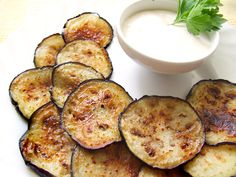 fried eggplant with sour cream garlic dip #party #yum