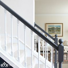 Foyer decorating – Home Decor Decorating Ideas Bannister Ideas Painted, Stair Bannister Ideas, Black Painted Stairs, Painted Stair Railings, Black Stair Railing, Black And White Stairs, Painted Staircases, House Staircase, Staircase Railings