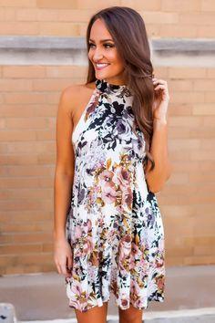 Ivory Floral Mock Neck Dress - Dottie Couture Boutique