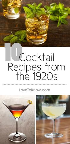 Even though alcohol consumption was outlawed by Prohibition during the 1920s, it didn't stop people from consuming cocktails. Bootleggers found ways to create and supply liquors such as gin and whiskey, which served as the alcoholic base for many of the popular cocktails of the time. | 10 Cocktail Recipes from the 1920s from #LoveToKnow