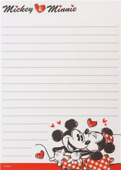 kawaii memo pad with Mickey Mouse, Minnie Mouse, hearts, logo writing by Crux