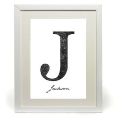 Personalised Name Letter Home Decorative Original Printed Art, Childrens Initials for the home. Name Letters, Letter J, Name Wall Art, Kids Seating, Bedroom Art, Kid Names, Initials, Kids Room, Artsy