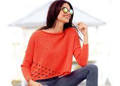 Коралловый пуловер - Вязаные модели спицами для женщин