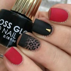 black, nails, and red image nail art nail DIY manicure nail design nail tutorials Cheetah Nail Designs, Leopard Nail Art, Best Nail Art Designs, Leopard Prints, Red Cheetah Nails, Leopard Print Nails, Animal Prints, Matte Nails, Red Nails