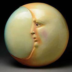 """Moon,"" Paper Mache Sculpture by Mexican artist Sergio Bustamante (b. 1942)"
