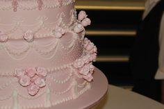 traditional, pink wedding cake