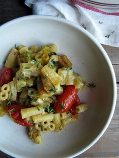 roast tomato and thyme macaroni 'cheese' recipe  #vegan