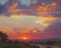 Setting heavens by robert kuester Oil ~ 24 x 30 Watercolor Landscape, Landscape Art, Landscape Paintings, Landscapes, Small Canvas Art, Canvas Artwork, Wood Canvas, Painting Inspiration, Art Inspo