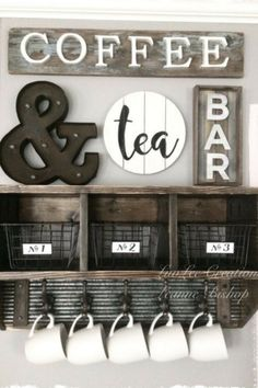 Coffee Bar Ideas - Looking for some coffee bar ideas? Here you'll find home coffee bar, DIY coffee bar, and kitchen coffee station. Coffee Nook, Coffee Bar Home, Coffee Wine, Diy Coffee Table, My Coffee, Coffe Bar, Coffee Bar Design, Diy Coffee Shelf, Coffee Beans