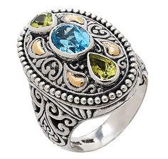 Samuel B. Blue Topaz  Peridot Sterling Silver  18K Gold Ring