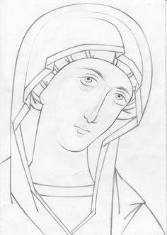 Teaching drawing more free materials on our site… Byzantine Icons, Byzantine Art, Religious Icons, Religious Art, Sketch Icon, Sketches, Painting Process, Painting & Drawing, Jesus E Maria