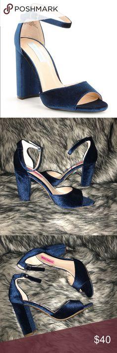 "Betsey Johnson Carly Velvet Block Heel Sandals Stunning! Brand new never worn! Velvet upper buckle closure synthetic lining synthetic outsole Approx. 4"" covered block heel Betsey Johnson Shoes Heels"