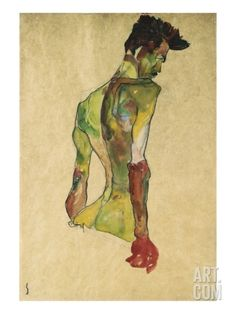 Male Nude in Profile Facing Right Giclee Print by Egon Schiele at Art.com
