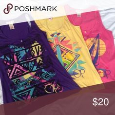 3 SUMMER TANKS💟💟💟 These three Ocean Pacific tank tops have different designs, two are kind of the Aztec look, one is Beachy. All Sz. Med. (7-9)all in exc. cond. light and fun. A great variety of colors for many options.🌺LAST PRICE DROP🌺 Ocean Pacific Tops Tank Tops