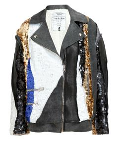 FILLES A PAPA | Sequin Embellished Leather and Suede Jacket