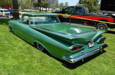 1959 El Camino - love the color, but I want a wood floor bed and two tone white with this green.