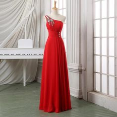 New Arrival Sexy A-Line Red Prom Dresses,Chiffon Prom Dresses,Floor Length Evening Dresses Party Formal Dresses