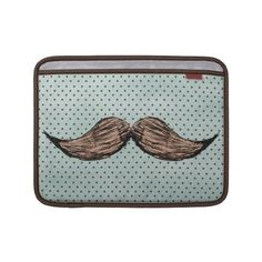 Funny Mustache Drawing And Brown Polka Dots Macbook Sleeves by mustache_designs #zazzle #mustache