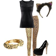 Exchange The heels with black boots and add cheetah make-up. BAM, there's your Halloween costume!!