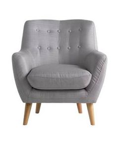 Buy Hygena Otis Fabric Chair and Footstool - Light Grey at Argos.co.uk - Your Online Shop for Armchairs and chairs.