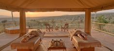 two double treatment tents which are open on 3 sides with awe inspiring views of the African bush