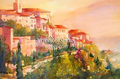 """View of Gordes"" Watercolor painting by Beth Verheden"