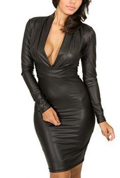 Cfanny-Women-Plunging-V-neck-Long-sleeve-Faux-Leather-Mini-Dress-0