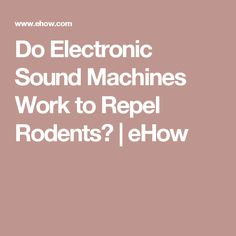 Do Electronic Sound Machines Work to Repel Rodents?   eHow