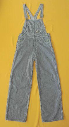 Osh Kosh Overall Denim Vintage 60s Style Hickory Stripe Uniform Heavy Cotton Bib Railroad Work Wear by InPersona on Etsy