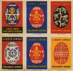 "Beautiful representations of colorful, traditional hand-painted Easter eggs can be seen on a vintage Czechoslovakian matchbox labels sheet. Printed by the matchbox label factory, Solo Lipnik, the folk art inspired designs of a ""national treasure,"" appropriately carry the text ""Lidové Uméni"" and ""Pokladnice Národa."" There are 12 different matchbox labels with a egg design motif."
