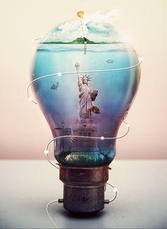 Bulb by yhenz. statue of liberty. Light Bulb Art, Illustrations, Fractal Art, Photo Manipulation, Clipart, Design Art, Art Photography, Photoshop Photography, Design Inspiration