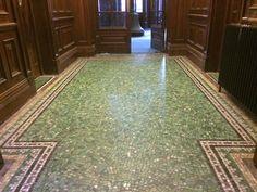 Jesse Rust glass mosaic floor. Manchester Royal Infirmary, Cobbett House. Mosaic Glass, Ground Floor, Mosaics, Manchester, Rust, Flooring, Home Decor, Mosaic, Hardwood Floor