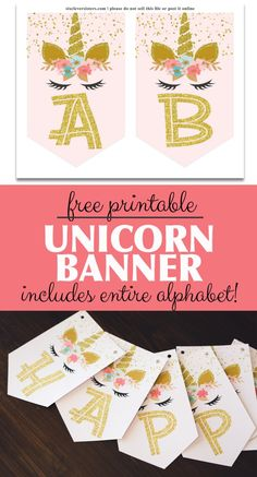 Free printable unicorn banner to add the perfect sparkle to your unicorn party! The pink and gold letters are just gorgeous for party decor and the entire alphabet is included! Decor Style Home Decor Style Decor Tips Maintenance Party Unicorn, Unicorn Banner, Unicorn Themed Birthday Party, Unicorn Birthday Invitations, 5th Birthday, Birthday Celebration, Free Birthday, Birthday Ideas, Happy Birthday Banner Printable