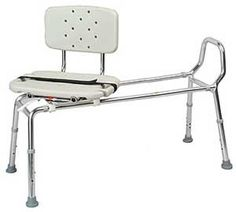 Snap-N-Save Extra Long Sliding Transfer Bench with Swivel Seat 37692 - Extra Long Version of 37662 (Weight Capacity 300 lbs.) Specifications Seat Size: x Handicap Toilet, Handicap Bathroom, Shower Chairs For Elderly, Handicap Accessories, Assisted Living Homes, Shower Seat, Shower Benches, Handicap Accessible Home, Chairs