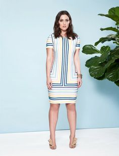f82043324ae Plus size striped sheath dress with lace print overlay Lace Print
