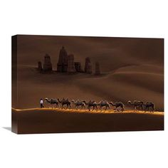 "Global Gallery 'Castle And Camels' by Mei Xu Photographic Print on Wrapped Canvas Size: 14.7"" H x 22"" W x 1.5"" D"