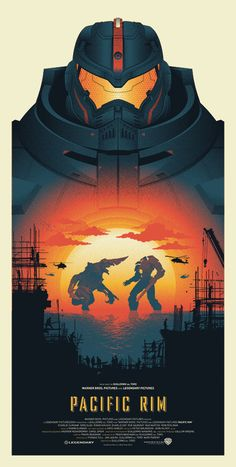 """""""Pacific Rim""""Screen Print (18'x24' - Edition of 50) realized by Seizure Palace and made for the """"Guillermo Del Toro: In Service Of Monsters"""",collective art show at Gallery1988, Los Angeles, CA."""