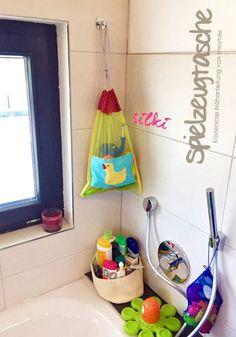 Freebook! Badespielzeug-Tasche aus Tüll. Genäht mit Kordelzug (Eine kostenlose Nähanleitung von shesmile) Endlich Ordnung im Badezimmer!