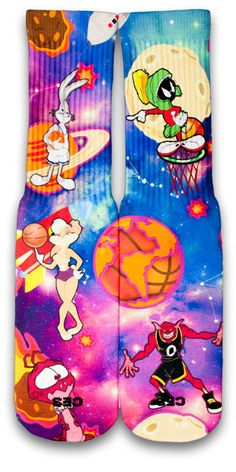 Ever popular space jam custom elite socks, featuring your favorite looney characters with a twist of galaxy theme. • Comes in standard Sizes (Small, Medium & Large - Men) • Reinforced heel and toe for