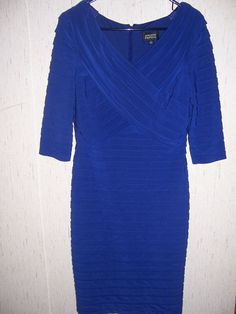 Adrianna Papell Shutter Pleat Sheath Dress Royal Blue Size 10 #AdriannaPapell #Sheath #Cocktail