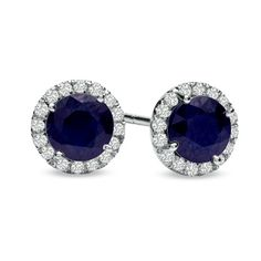 5.0mm Sapphire and 1/6 CT. T.W. Diamond Frame Earrings in 14K White Gold - Zales: something blue?