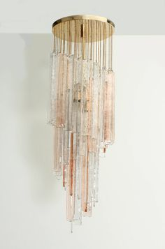 Mazzega Chandelier in Clear and Pink Glass
