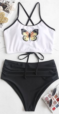 A beautiful butterfly print on a white background makes the tank-style top a summer stunner with its lace-up straps. Matched tummy control briefs have a high waisted design, enabling you to cover up your stomach area, but still, pull off a very chic look. Bathing Suits For Teens, Summer Bathing Suits, Swimsuits For Teens, Cute Bathing Suits, Summer Suits, Cute Swimsuits, Target Bathing Suits, Tankini, Jugend Mode Outfits