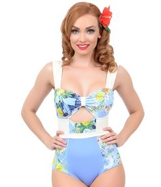 Estivo Vintage Style Pin-up Blue & Cream Floral Two Tone Cut Out One Piece Swimsuit