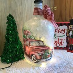 Christmas red truck red truck for Christmas farmhouse red image 5 Wine Bottle Art, Painted Wine Bottles, Wine Bottle Crafts, Jar Crafts, Diy Bottle, Magical Christmas, Christmas Art, Christmas Lights, Christmas Decoupage