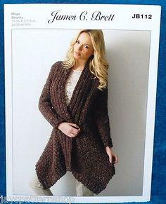 Ladies Mega Chunky Knit Easy Knit Jacket Knitting Pattern 28 -46 Inch